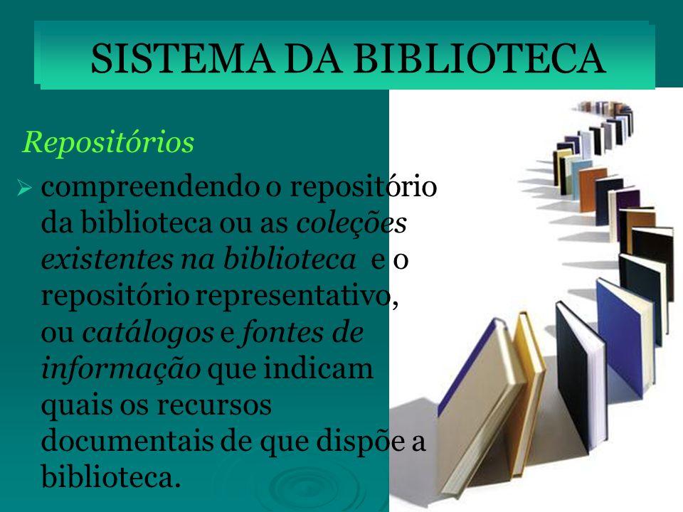 Repositórios compreendendo o repositório da biblioteca ou as coleções existentes na biblioteca e o repositório representativo, ou catálogos e fontes d