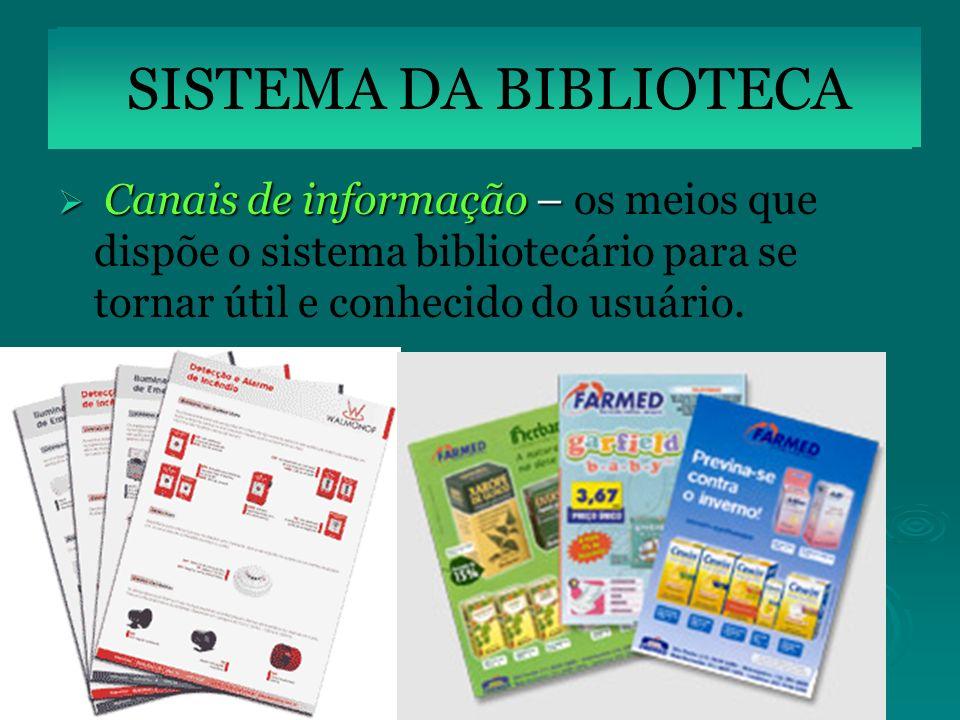 Canais de informação – Canais de informação – os meios que dispõe o sistema bibliotecário para se tornar útil e conhecido do usuário. SISTEMA DA BIBLI