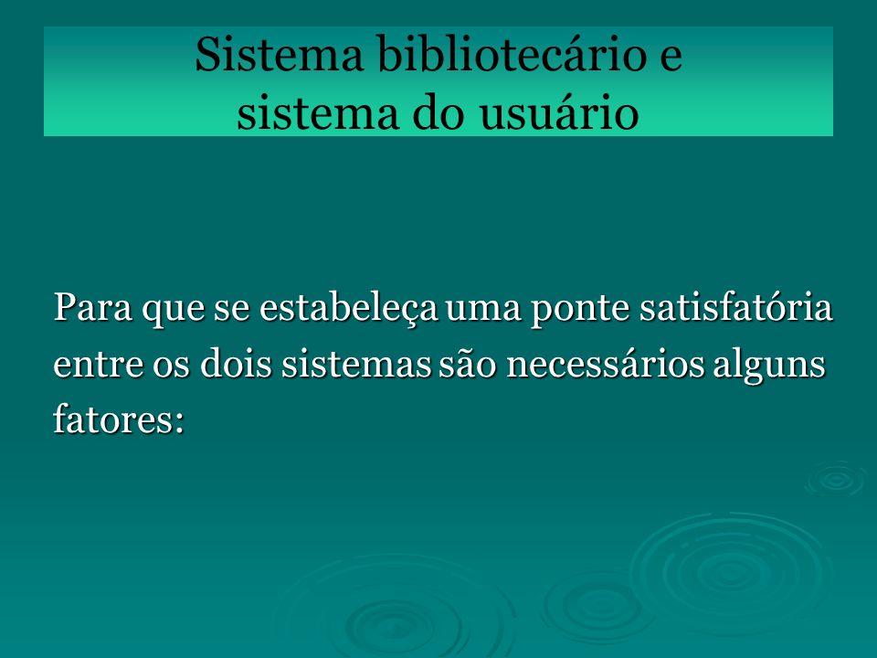 Para que se estabeleça uma ponte satisfatória entre os dois sistemas são necessários alguns fatores: Sistema bibliotecário e sistema do usuário