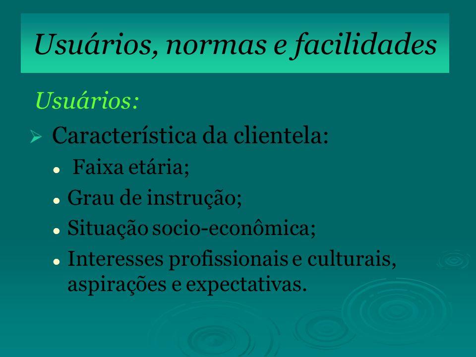 SIS Usuários: Característica da clientela: Faixa etária; Grau de instrução; Situação socio-econômica; Interesses profissionais e culturais, aspirações