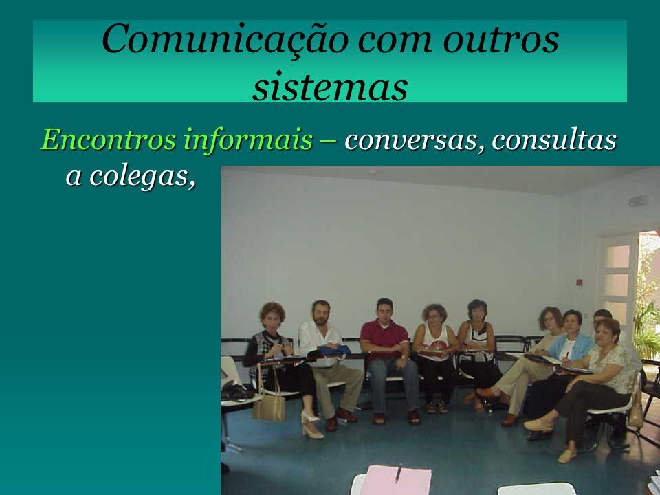 Encontros informais – conversas, consultas a colegas, Comunicação com outros sistemas