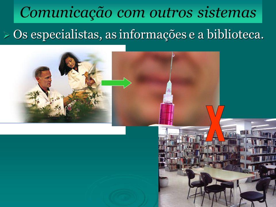 Os especialistas, as informações e a biblioteca. Os especialistas, as informações e a biblioteca. Comunicação com outros sistemas