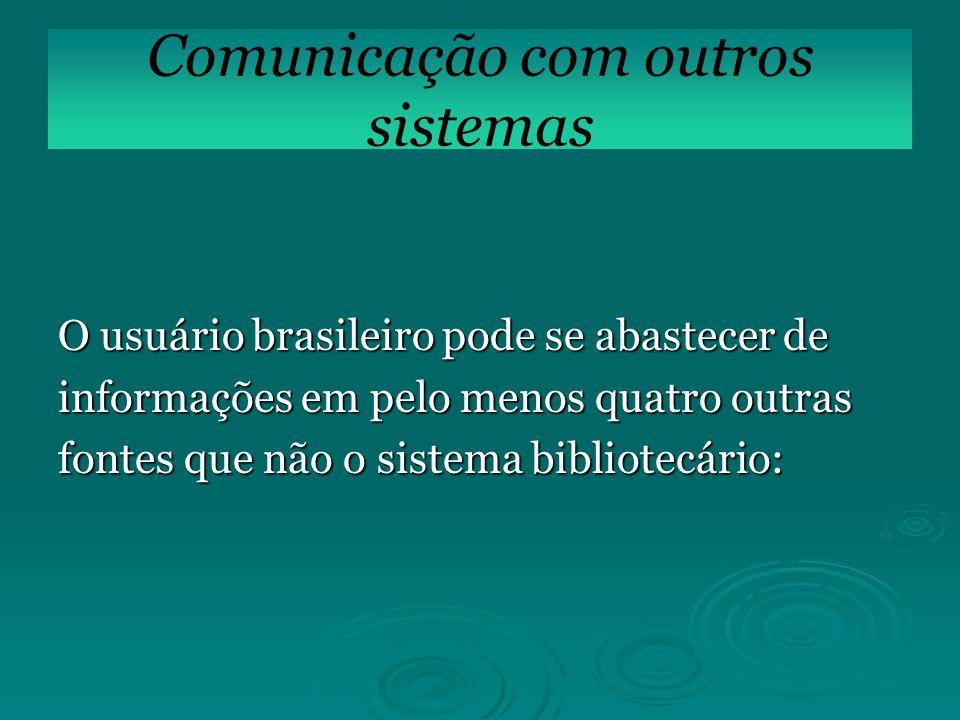 O usuário brasileiro pode se abastecer de informações em pelo menos quatro outras fontes que não o sistema bibliotecário: Comunicação com outros siste