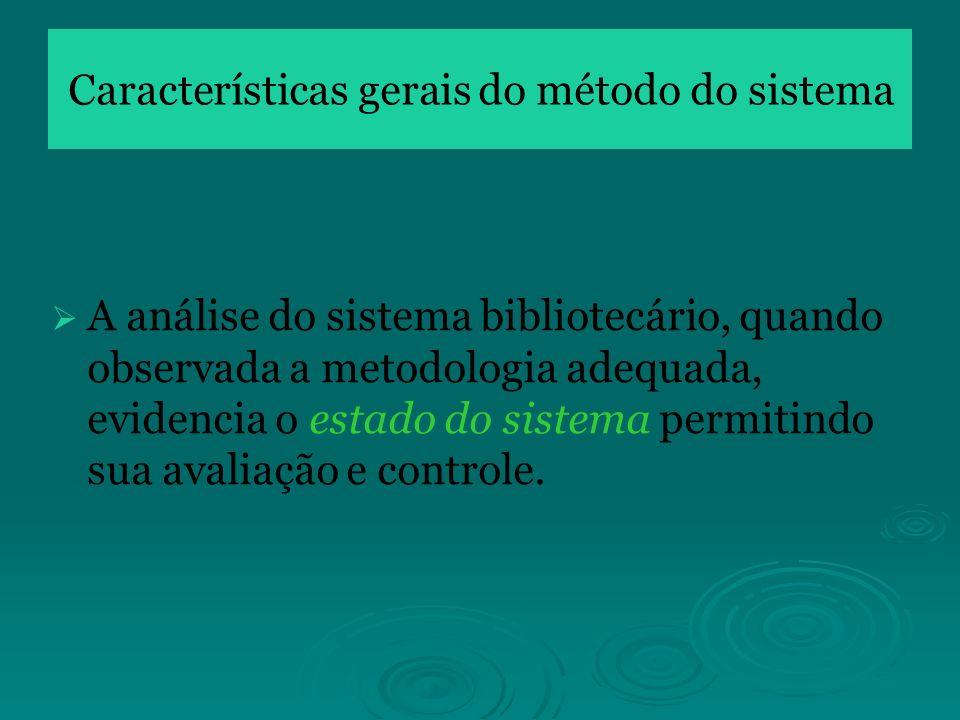 A análise do sistema bibliotecário, quando observada a metodologia adequada, evidencia o estado do sistema permitindo sua avaliação e controle.