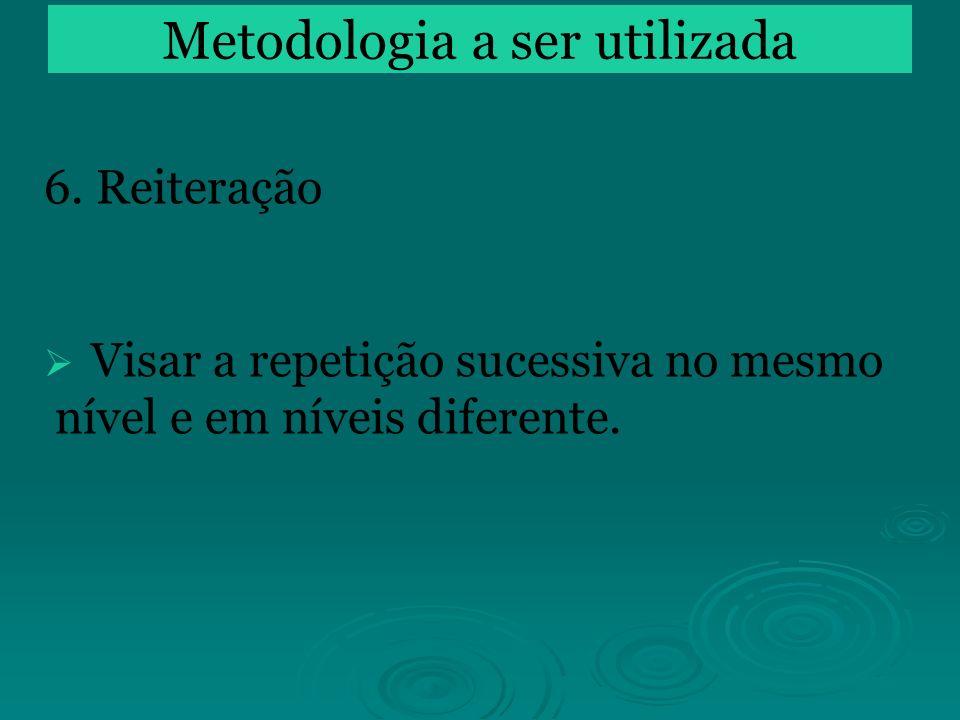 6. Reiteração Visar a repetição sucessiva no mesmo nível e em níveis diferente. Metodologia a ser utilizada