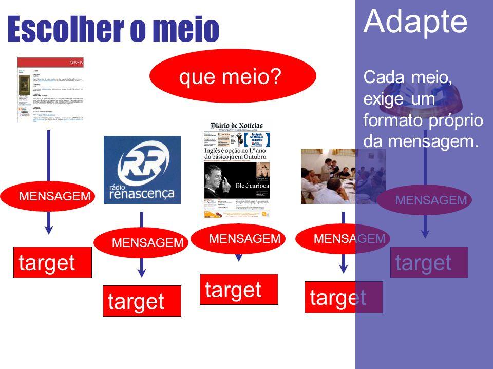 Escolher o meio target target target targettarget que meio? MENSAGEM Adapte Cada meio, exige um formato próprio da mensagem.