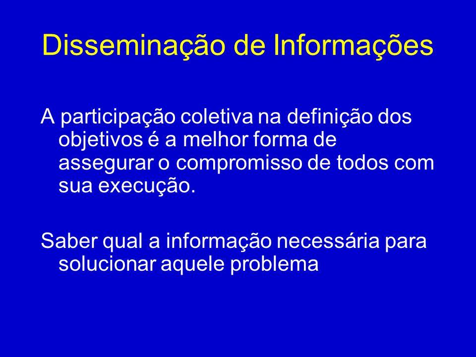 Disseminação de Informações A participação coletiva na definição dos objetivos é a melhor forma de assegurar o compromisso de todos com sua execução.