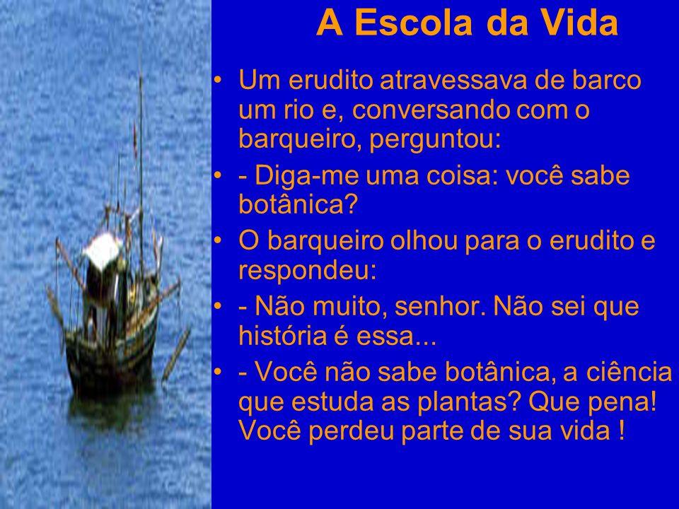 A Escola da Vida Um erudito atravessava de barco um rio e, conversando com o barqueiro, perguntou: - Diga-me uma coisa: você sabe botânica? O barqueir