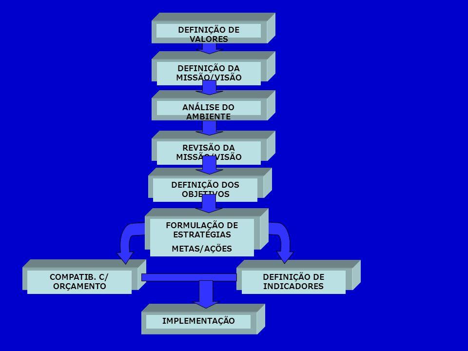 DEFINIÇÃO DA MISSÃO/VISÃO COMPATIB. C/ ORÇAMENTO DEFINIÇÃO DE INDICADORES IMPLEMENTAÇÃO DEFINIÇÃO DE VALORES ANÁLISE DO AMBIENTE REVISÃO DA MISSÃO/VIS