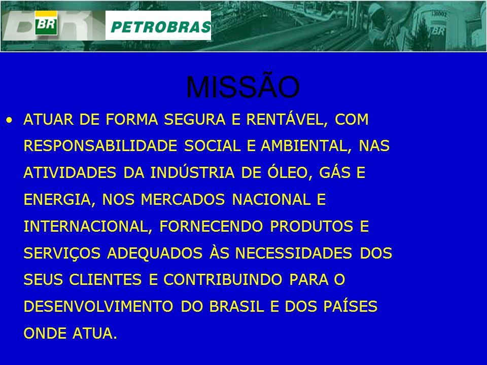 MISSÃO ATUAR DE FORMA SEGURA E RENTÁVEL, COM RESPONSABILIDADE SOCIAL E AMBIENTAL, NAS ATIVIDADES DA INDÚSTRIA DE ÓLEO, GÁS E ENERGIA, NOS MERCADOS NAC