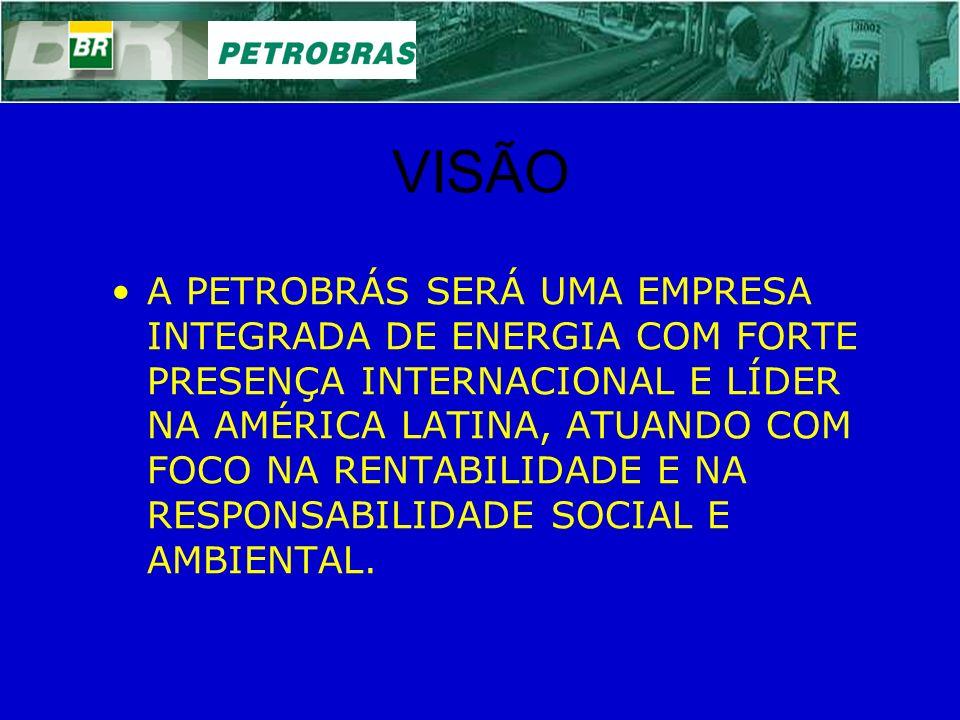 VISÃO A PETROBRÁS SERÁ UMA EMPRESA INTEGRADA DE ENERGIA COM FORTE PRESENÇA INTERNACIONAL E LÍDER NA AMÉRICA LATINA, ATUANDO COM FOCO NA RENTABILIDADE