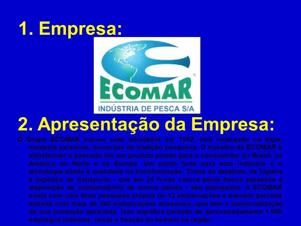 1. Empresa: 2. Apresentação da Empresa: O Grupo ECOMAR iniciou suas atividades em 1982, está localizado na Vigia, nordeste paraense, município de trad