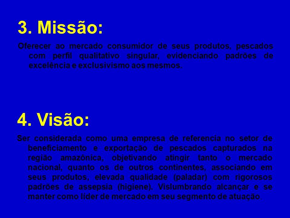 3. Missão: 4. Visão: Ser considerada como uma empresa de referencia no setor de beneficiamento e exportação de pescados capturados na região amazônica
