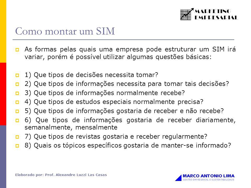 Elaborado por: Prof. Alexandre Luzzi Las Casas Como montar um SIM As formas pelas quais uma empresa pode estruturar um SIM irá variar, porém é possíve