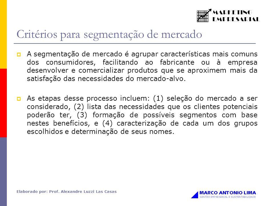 Elaborado por: Prof. Alexandre Luzzi Las Casas Critérios para segmentação de mercado A segmentação de mercado é agrupar características mais comuns do