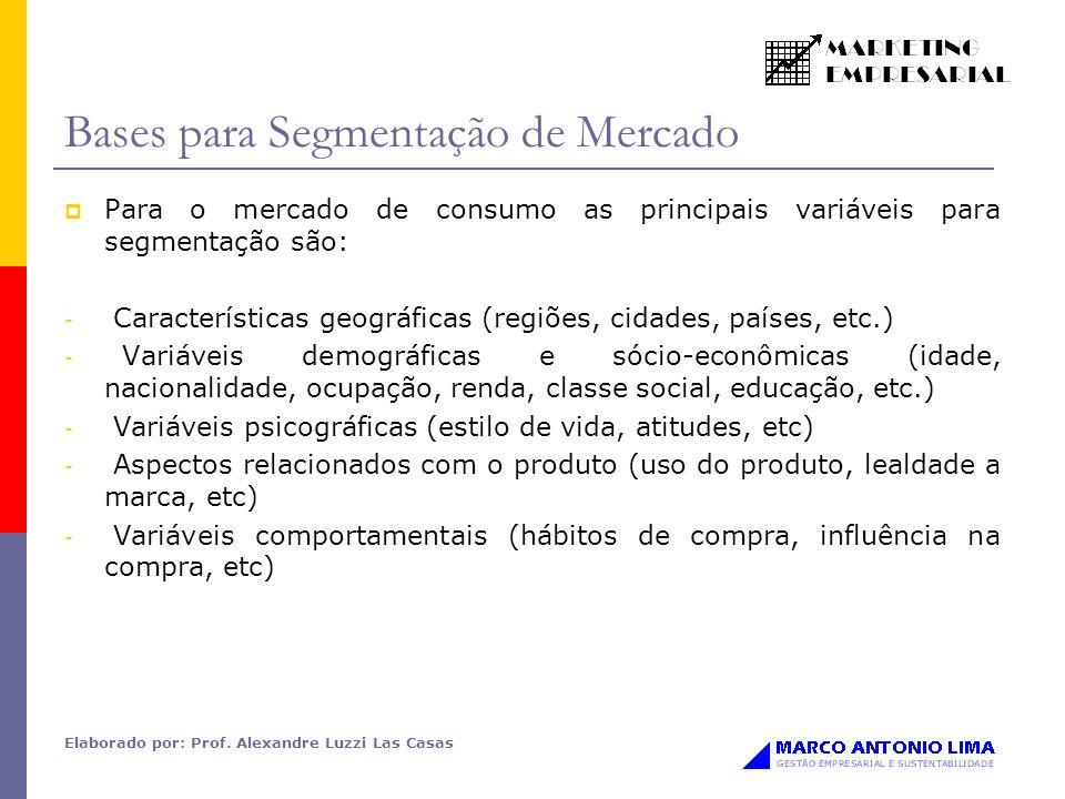 Elaborado por: Prof. Alexandre Luzzi Las Casas Bases para Segmentação de Mercado Para o mercado de consumo as principais variáveis para segmentação sã