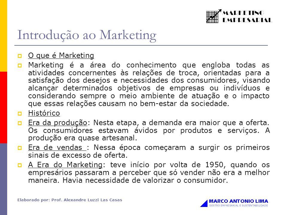 Elaborado por: Prof. Alexandre Luzzi Las Casas Introdução ao Marketing O que é Marketing Marketing é a área do conhecimento que engloba todas as ativi