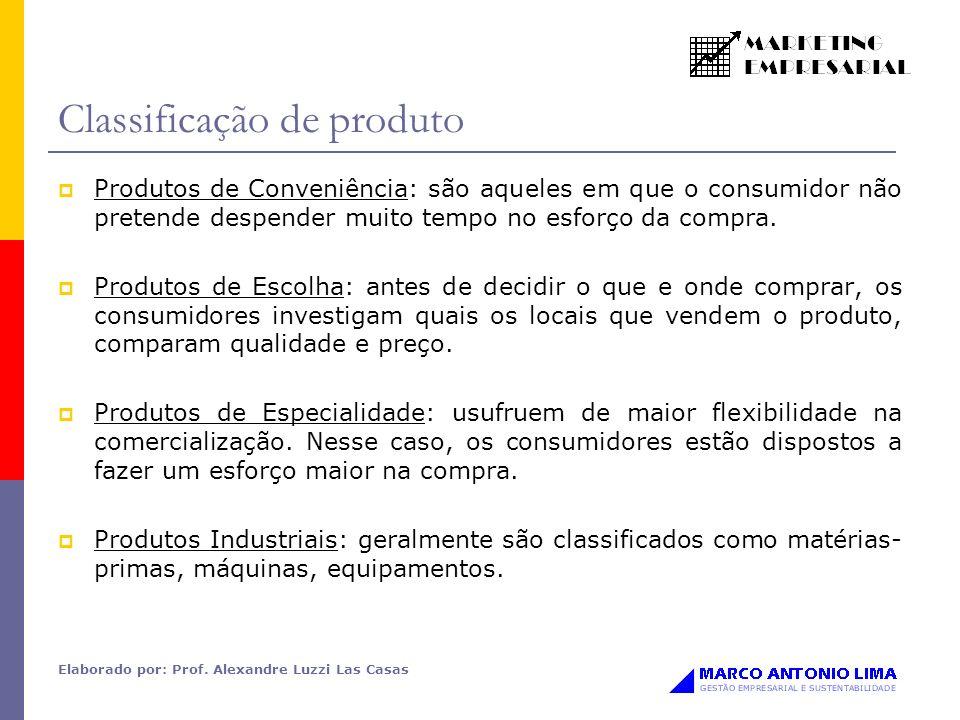Elaborado por: Prof. Alexandre Luzzi Las Casas Classificação de produto Produtos de Conveniência: são aqueles em que o consumidor não pretende despend