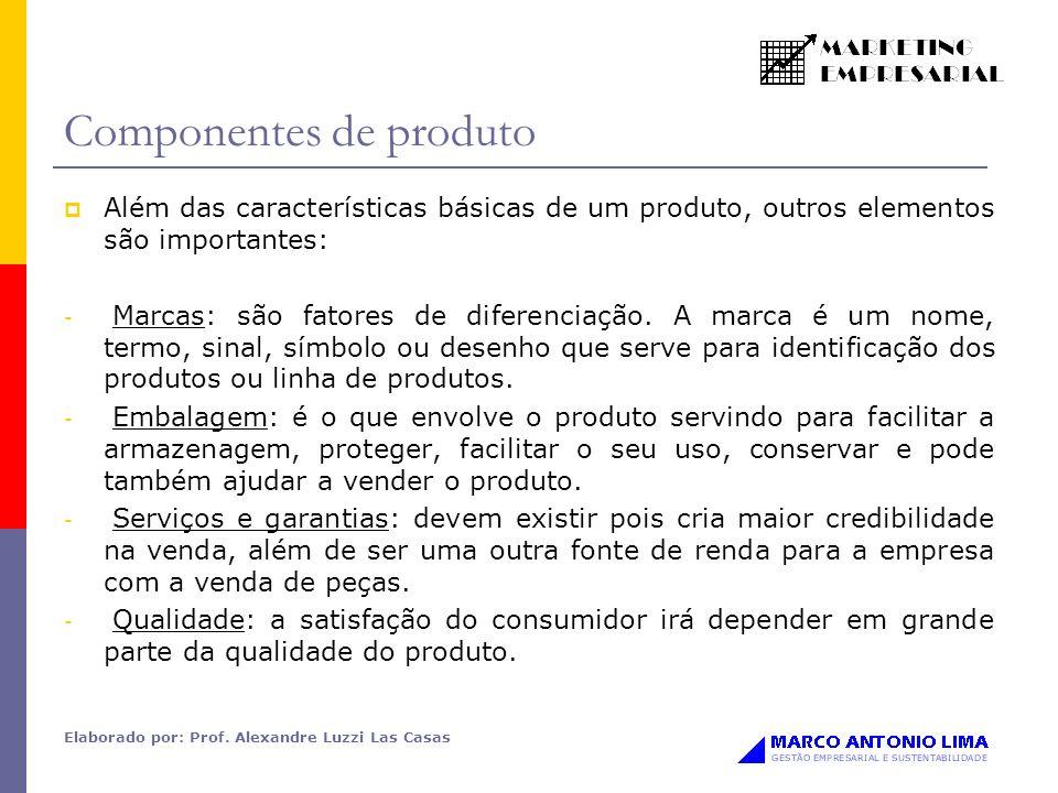 Elaborado por: Prof. Alexandre Luzzi Las Casas Componentes de produto Além das características básicas de um produto, outros elementos são importantes