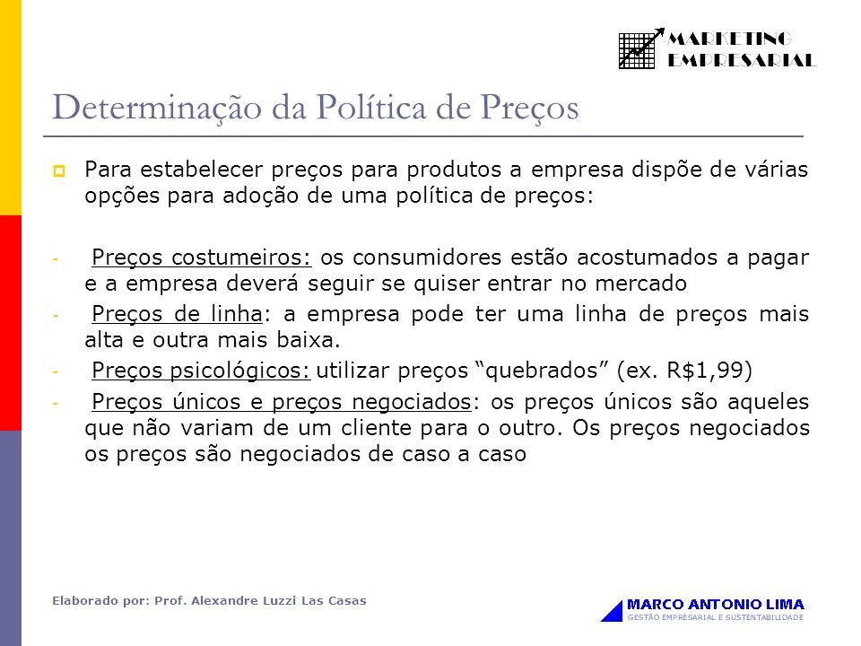 Elaborado por: Prof. Alexandre Luzzi Las Casas Determinação da Política de Preços Para estabelecer preços para produtos a empresa dispõe de várias opç