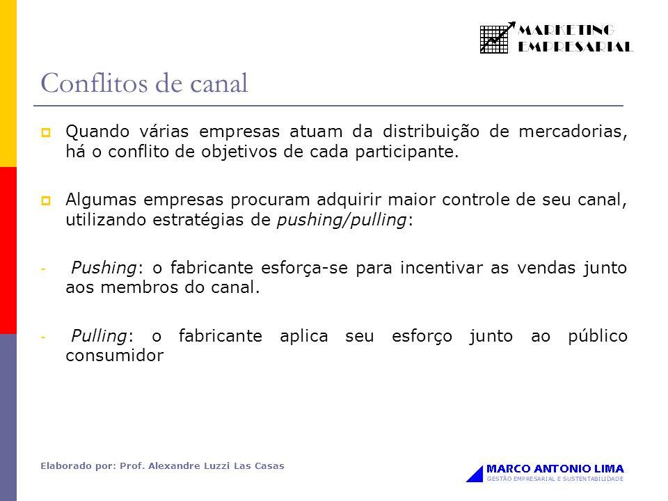 Elaborado por: Prof. Alexandre Luzzi Las Casas Conflitos de canal Quando várias empresas atuam da distribuição de mercadorias, há o conflito de objeti