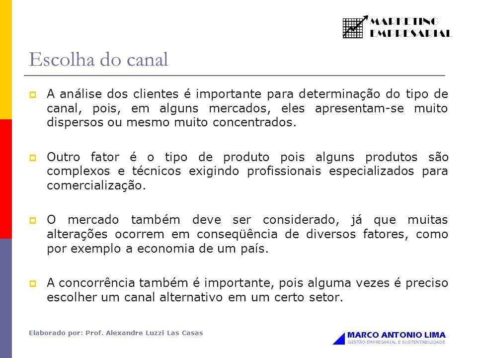 Elaborado por: Prof. Alexandre Luzzi Las Casas Escolha do canal A análise dos clientes é importante para determinação do tipo de canal, pois, em algun