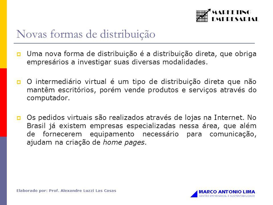 Elaborado por: Prof. Alexandre Luzzi Las Casas Novas formas de distribuição Uma nova forma de distribuição é a distribuição direta, que obriga empresá