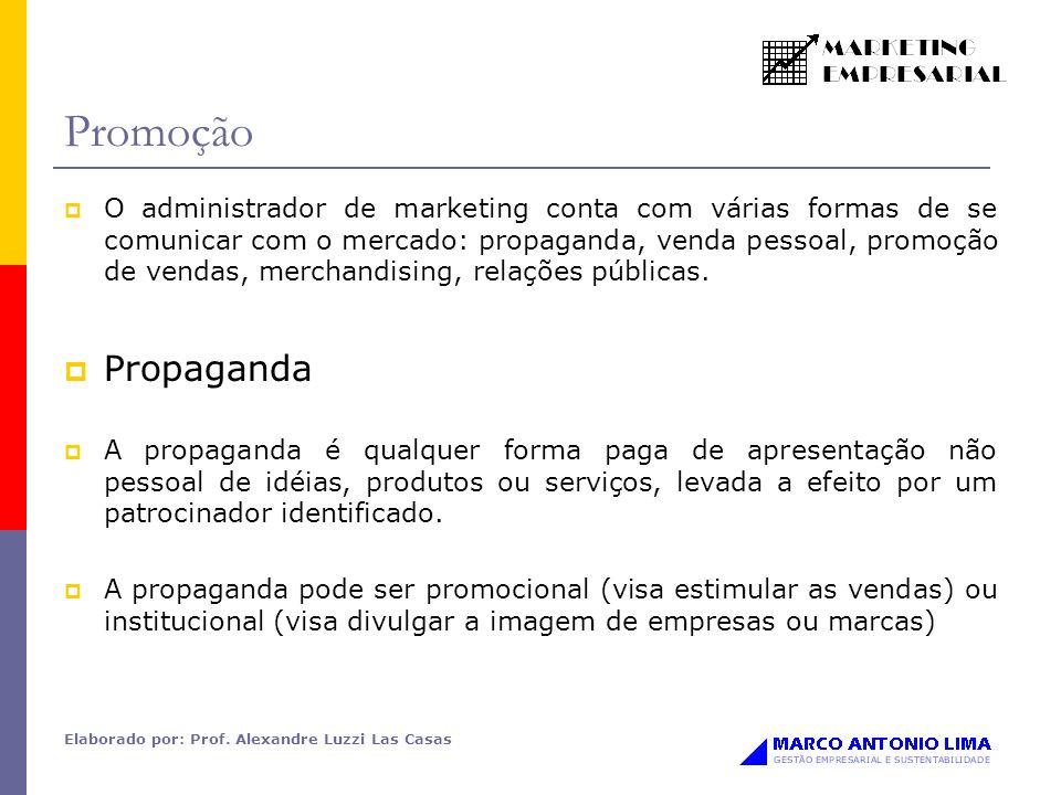 Elaborado por: Prof. Alexandre Luzzi Las Casas Promoção O administrador de marketing conta com várias formas de se comunicar com o mercado: propaganda
