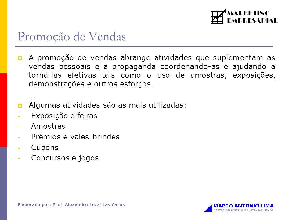 Elaborado por: Prof. Alexandre Luzzi Las Casas Promoção de Vendas A promoção de vendas abrange atividades que suplementam as vendas pessoais e a propa