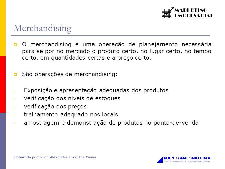 Elaborado por: Prof. Alexandre Luzzi Las Casas Merchandising O merchandising é uma operação de planejamento necessária para se por no mercado o produt