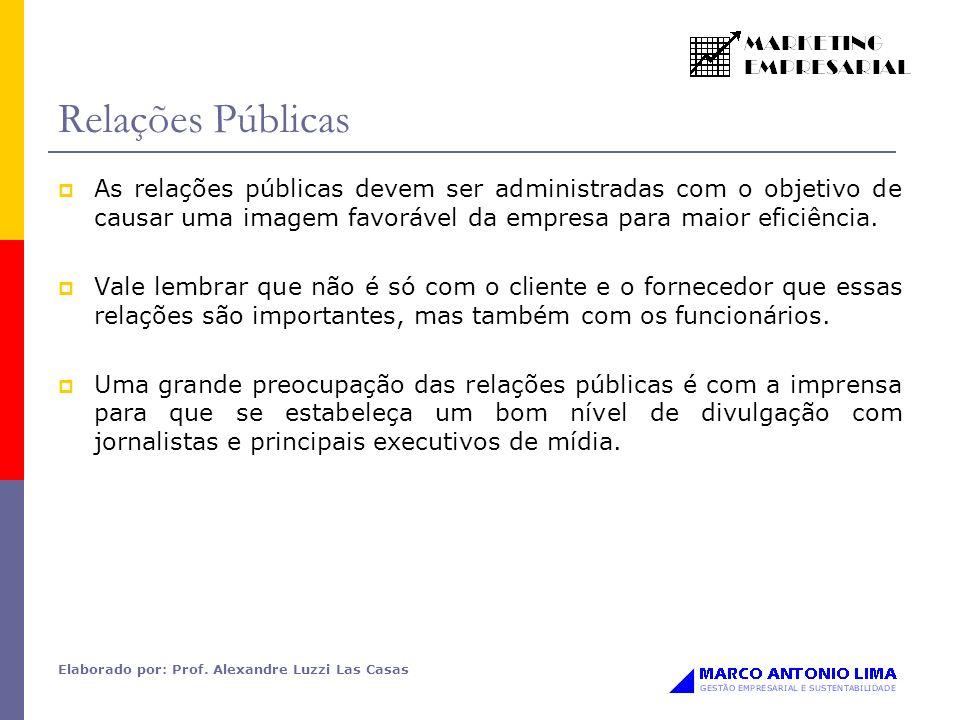 Elaborado por: Prof. Alexandre Luzzi Las Casas Relações Públicas As relações públicas devem ser administradas com o objetivo de causar uma imagem favo