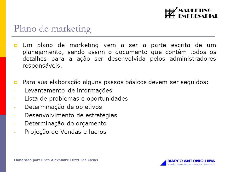 Elaborado por: Prof. Alexandre Luzzi Las Casas Plano de marketing Um plano de marketing vem a ser a parte escrita de um planejamento, sendo assim o do