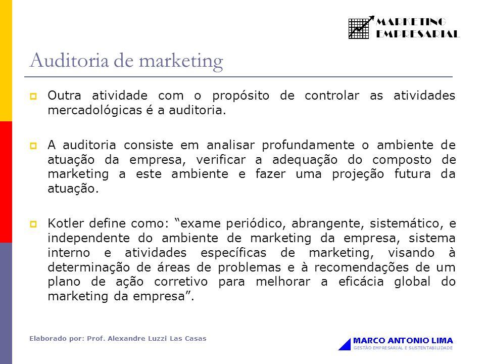 Elaborado por: Prof. Alexandre Luzzi Las Casas Auditoria de marketing Outra atividade com o propósito de controlar as atividades mercadológicas é a au
