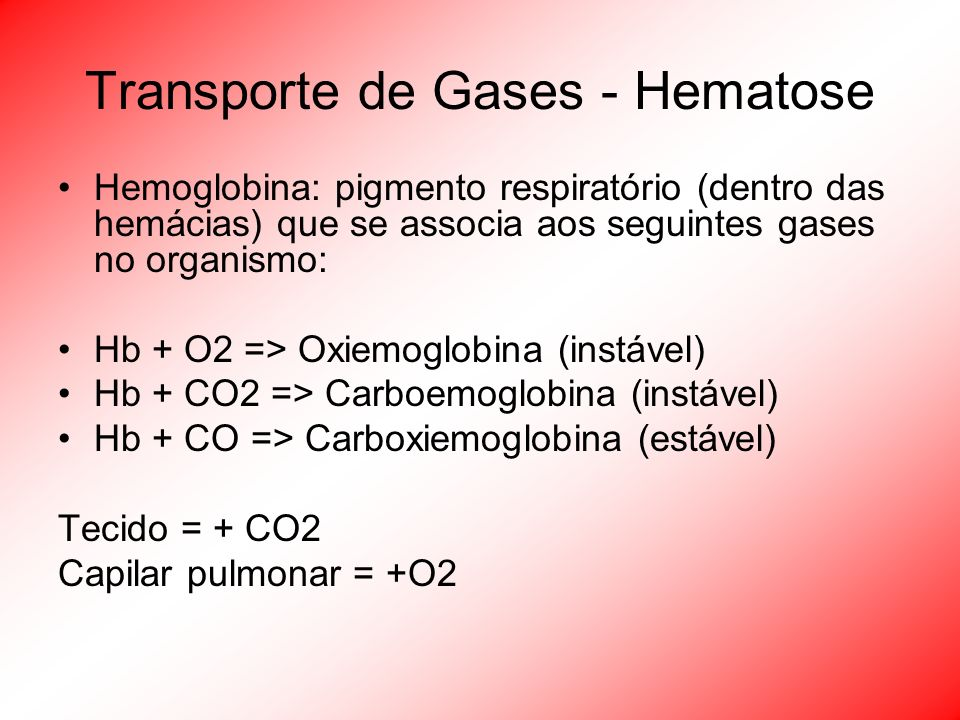 Transporte de Gases - Hematose Hemoglobina: pigmento respiratório (dentro das hemácias) que se associa aos seguintes gases no organismo: Hb + O2 => Ox