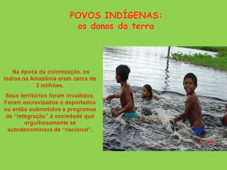 Na época da colonização, os índios na Amazônia eram cerca de 3 milhões.