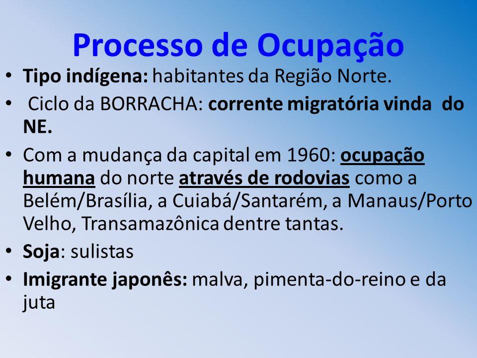 Processo de Ocupação Tipo indígena: habitantes da Região Norte.