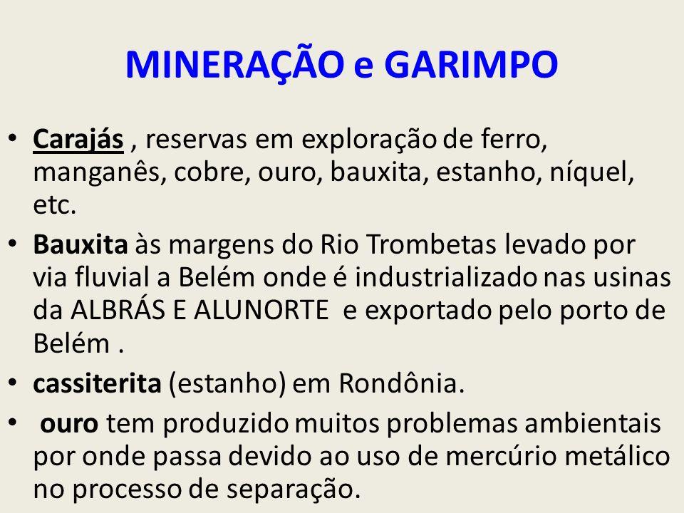 MINERAÇÃO e GARIMPO Carajás, reservas em exploração de ferro, manganês, cobre, ouro, bauxita, estanho, níquel, etc.