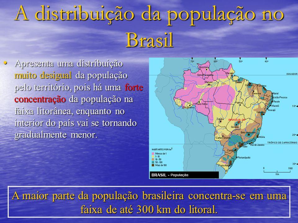 A distribuição da população no Brasil Apresenta uma distribuição muito desigual da população pelo território, pois há uma forte concentração da popula