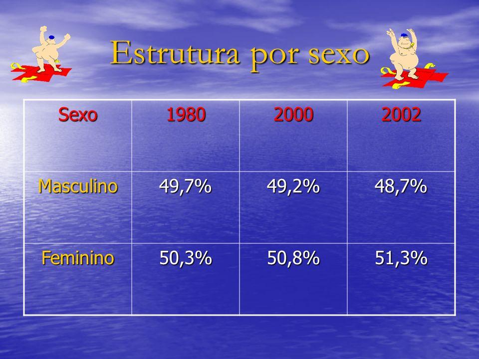 Estrutura por sexo Sexo198020002002 Masculino49,7%49,2%48,7% Feminino50,3%50,8%51,3%