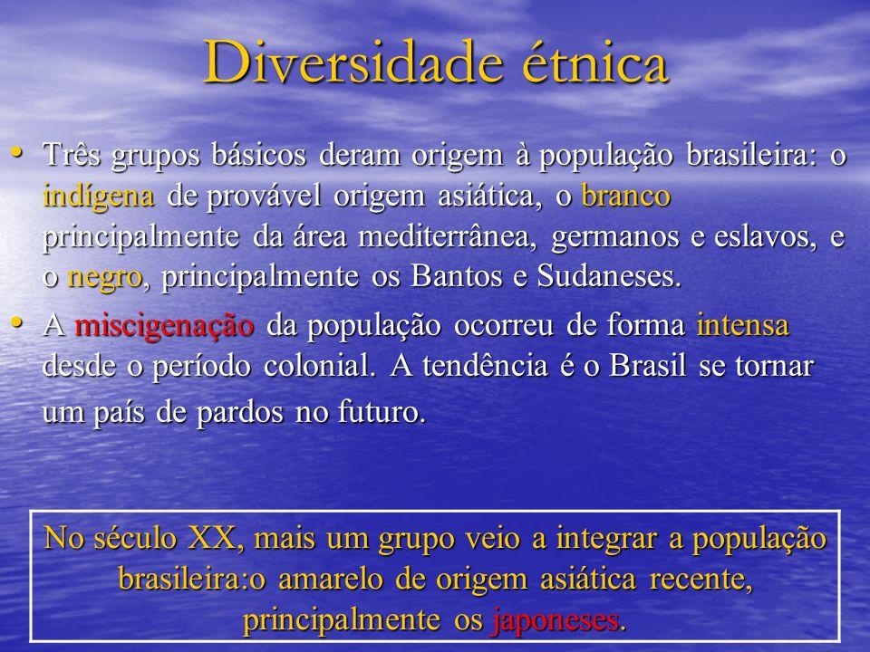 Diversidade étnica Três grupos básicos deram origem à população brasileira: o indígena de provável origem asiática, o branco principalmente da área me