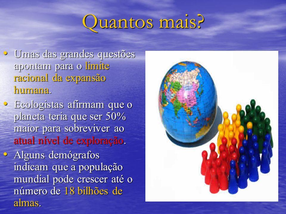 Quantos mais? Umas das grandes questões apontam para o limite racional da expansão humana. Umas das grandes questões apontam para o limite racional da