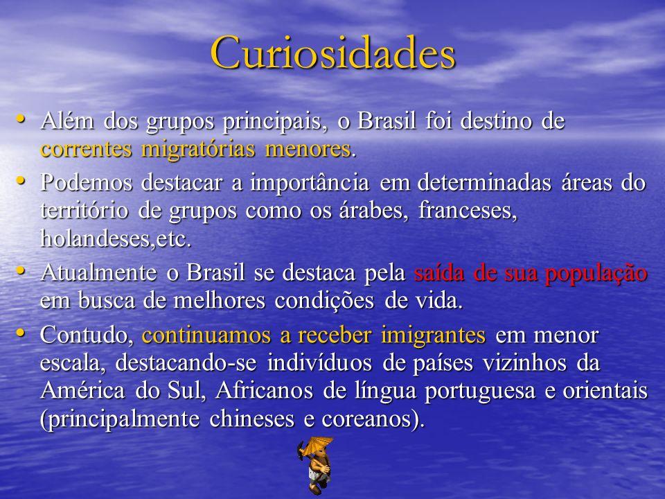 Curiosidades Além dos grupos principais, o Brasil foi destino de correntes migratórias menores. Além dos grupos principais, o Brasil foi destino de co