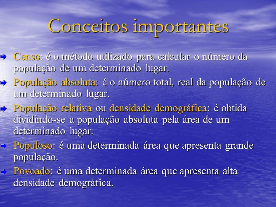 Conceitos importantes Censo: é o método utilizado para calcular o número da população de um determinado lugar. Censo: é o método utilizado para calcul