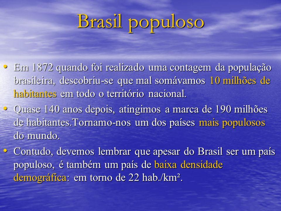 Estrutura por idade brasileira 198019912002 Jovens (0 a 19 anos) 48,5%46,62%38,84% Adultos (20 a 59 anos) 45%46,79%52,06% Idosos (acima de 60 anos) 6,5%6,58%9,1%