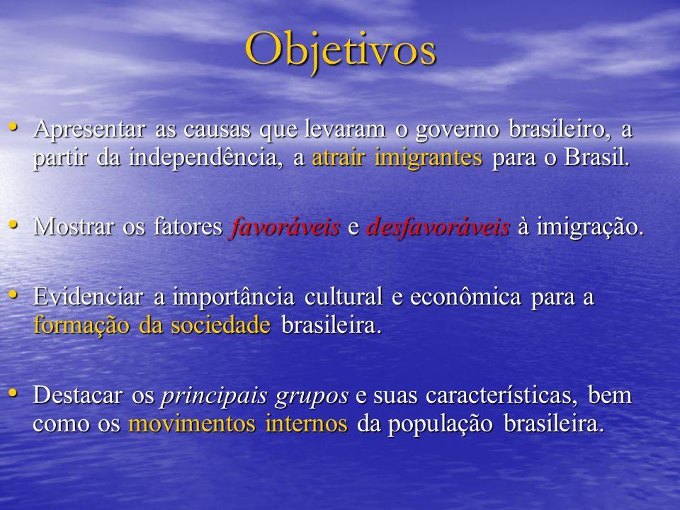 Objetivos Apresentar as causas que levaram o governo brasileiro, a partir da independência, a atrair imigrantes para o Brasil. Apresentar as causas qu