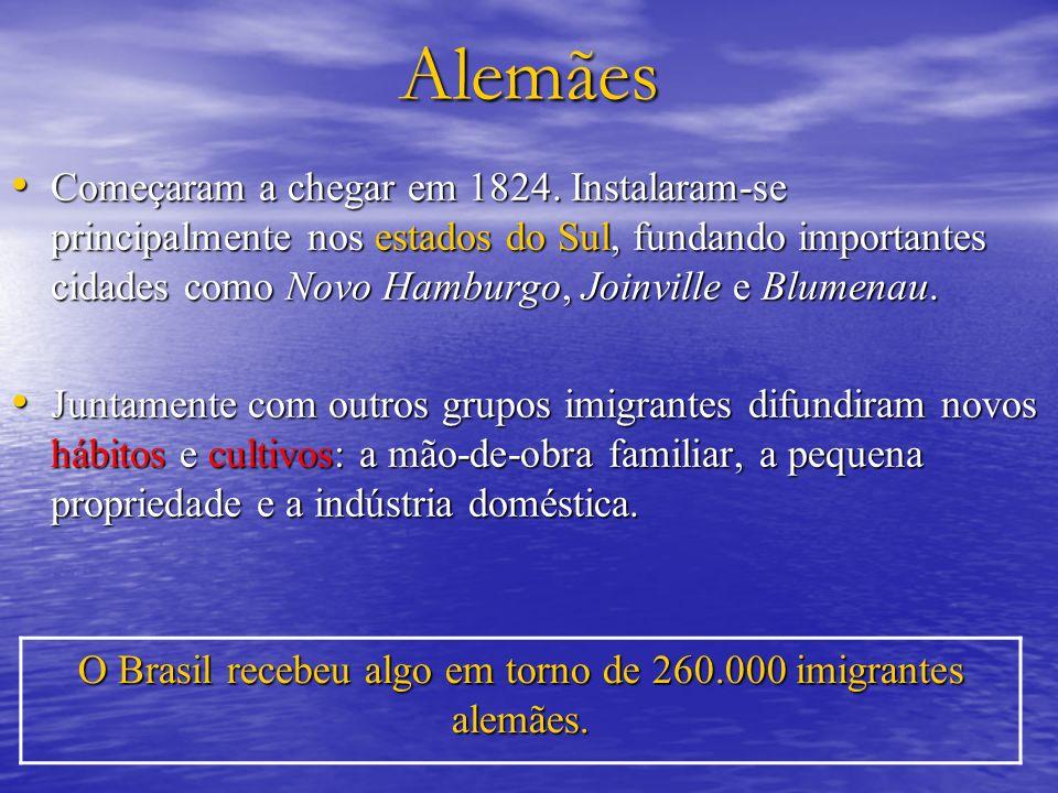 Alemães Começaram a chegar em 1824. Instalaram-se principalmente nos estados do Sul, fundando importantes cidades como Novo Hamburgo, Joinville e Blum