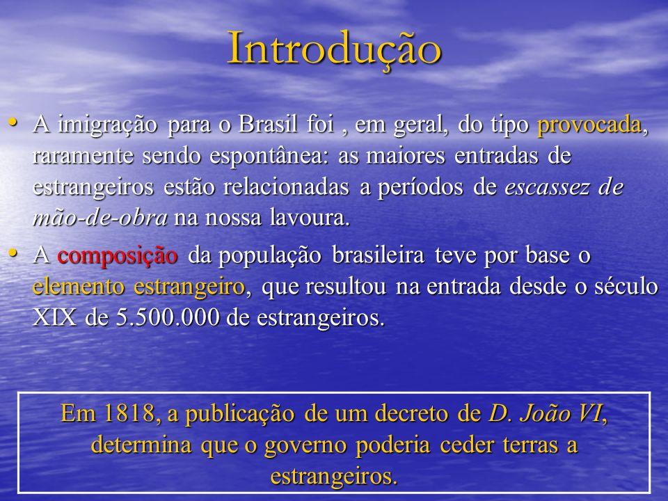 Introdução A imigração para o Brasil foi, em geral, do tipo provocada, raramente sendo espontânea: as maiores entradas de estrangeiros estão relacionadas a períodos de escassez de mão-de-obra na nossa lavoura.