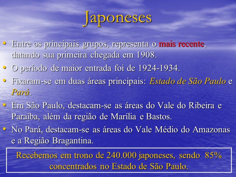 Japoneses Entre os principais grupos, representa o mais recente, datando sua primeira chegada em 1908. Entre os principais grupos, representa o mais r