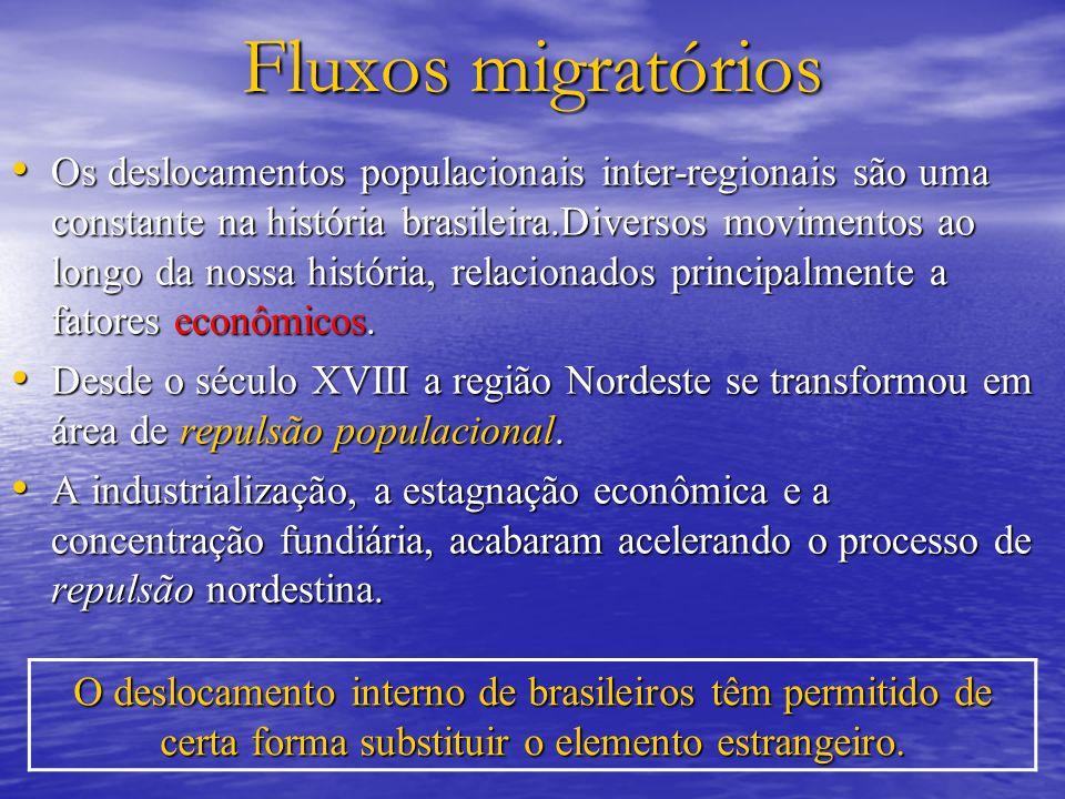 Fluxos migratórios Os deslocamentos populacionais inter-regionais são uma constante na história brasileira.Diversos movimentos ao longo da nossa história, relacionados principalmente a fatores econômicos.