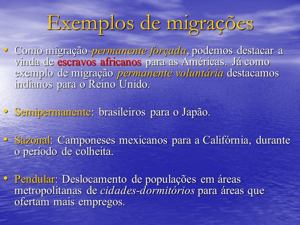 Exemplos de migrações Como migração permanente forçada, podemos destacar a vinda de escravos africanos para as Américas. Já como exemplo de migração p